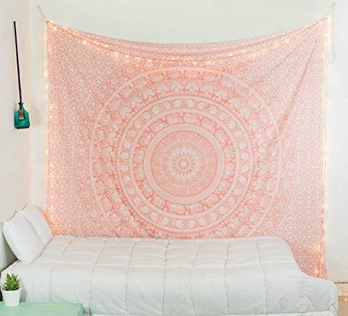 raajsee Indisch Psychedelic Wandteppich Mandala Glänzend Gold weiß, Elefant Boho Wandtuch Hippie Twin 140x210 cm,Golden Decke Wandbehang,/Beach Tapestry Yoga Meditation Mat/A