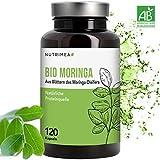 Moringa Kapseln BIO Hochdosiert - Zertifizierte BIO-Qualität - 100% Reines Moringa Oleifera Blatt-Pulver - 4 Monatsvorrat Natürliche Proteinquelle & Vitamine für Veganer - Energy & Vitalität