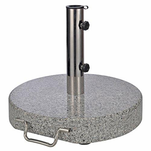 Sonnenschirmständer aus Granit - rund - Gewicht 30 kg - Schirmständer mit Rollen und Feststellschrauben