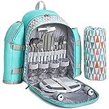 VonShef Hellblauer Picknick-Rucksack für 4 Personen mit Kühlfach, Geschirr, Besteck & Fleecedecke mit geometrischem Muster
