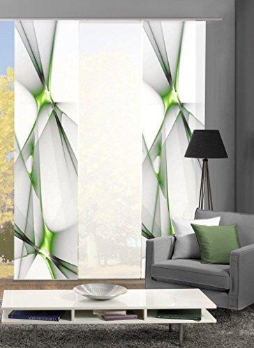 Home Fashion Set-Angebot Flächenvorhang KINGFIELD | wahlweise 3er-, 4er-, 5er oder 6er-Set in blau, rot oder apfelgrün | bestehend aus Motiv- und Uni-Flächenvorhängen | je 245x60 cm (3, apfelgrün)