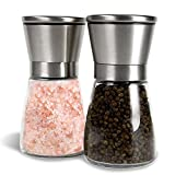 Butterme Edelstahl Salz- und Pfeffermesser Set aus 2 gebürstetem Edelstahl Pfeffermühle und Salzmühle mit verstellbarem Keramikrotor