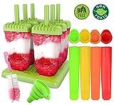 Gyvazla Eisformen, 6 Stück Eisformen Popsicle Formen Set, 4 Stück Silikon Stück Eislutscher Formen, Silikon mit Trichter, Reinigungsbürste, Ideal für DIY Selbstgemachtes EIS für Kinder und Erwachsene
