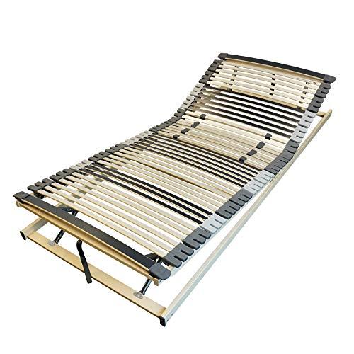 AM Qualitätsmatratzen Ergonomischer 7-Zonen Lattenrost - 100x200 cm - fertig montiert - 44 Leisten - Kopf- und Fußteil verstellbar - Holmabsenkung für Schulter und Becken - 100x200cm