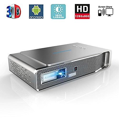 LED Beamer, 3800 Lumens Projektor 1280x800 Aktives 3D DLP-Link Support 1080P Full HD Android Smart Projektor mit HDMI Wifi Bildschirm Teilen Kostenlose 3D-Brille