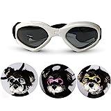 Hundebrille Sonnenbrille UV Schutzbrillen Wasserdichten Schutz Sun-Brille fuer Hunde, Hund Goggles Anti-Beschlag Brille Augenschutz Schutzbrille mit abnehmbarer Trageriemen (Weiß)