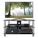 1home GT4 LCD-/Plasma-TV Rack Glas Tisch Ständer LCD Rack LED Tisch Fernsehtisch Schwarz Glas drei Ablagen 32- 60 Zoll