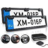 XOMAX XM-016P Einparkhilfe Set: 2x Kennzeichen Halterung vorne und hinten, hinten mit Rückfahrkamera, 4 Distanzsensoren, Wasserfest IP67 I CMD Kamera I Nachtsicht 1,5 LUX I 170° h I 120° v I 640x480 px I 420 TVL