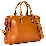 Kattee Damen Leder Aktentasche Messenger Bag 14' Laptop Handtasche (Braun)