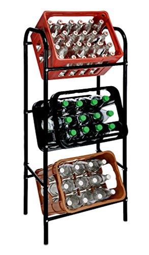 Getränkekistenregal für 3 Getränkekästen - schwarz - Kastenregal, Kastenständer