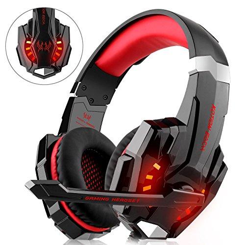 Gaming Headset für PS4 Xbox One PC, DIZA100 Gaming Kopfhörer mit Mikrofon, LED Light Bass Surround,Aluminiumgehäuse für Computer Laptop Mac Nintendo Switch Spiele