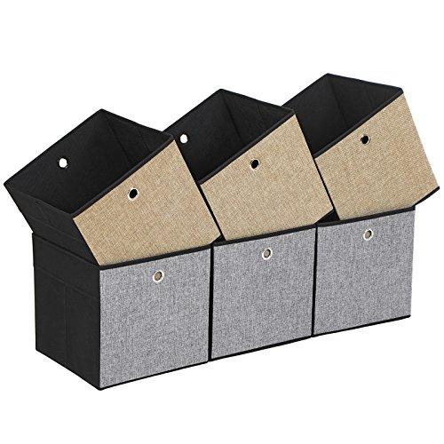 SONGMICS 6er Set Aufbewahrungsbox, Seiten in verschiedenen Farben - Braun, Grau und Schwarz, faltbare Stoffbox für Kleidung, Faltbox, Spielzeug-Organizer, 30 x 30 x 30 cm ROB30GB