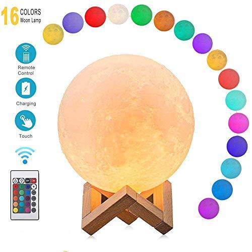 CougarEyes mond Lampe 18 cm, 16 Farben, 3D Moon Lamp - LED Nachtlampe für wundervolle Lichtatmosphäre - Touch Lampe Mondlicht - Mond Nachtlicht und Licht für Schlafzimmer und Esszimmer