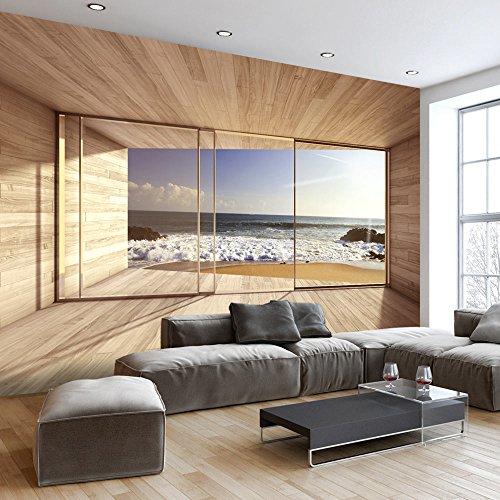 murando - Fototapete Meer Fenster 300x210 cm - Vlies Tapete - Moderne Wanddeko - Design Tapete - Wandtapete - Wand Dekoration - Meer See Natur Landschaft Fenster 3D Holz c-A-0084-a-d