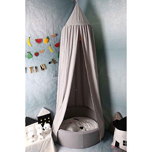 Tyhbelle Betthimmel für Kinder Babys Baumwolle Hängende Moskiton Höhe 240 cm Saumlänge 270cm (Grau)
