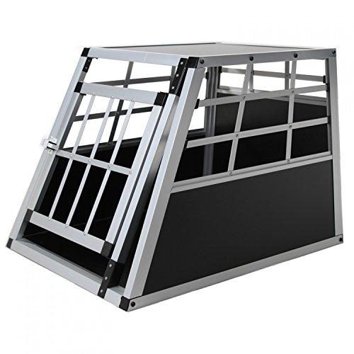 Jalano Hundebox aus Aluminium für Den Transport Kleiner Hunde Auto Gitterbox mit geneigter Vorderseite für PKW Kofferraum