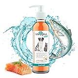 Ida Plus - Premium Lachsöl in Lebensmittelqualität für Tiere - 200 ml Pumpflasche – für Hunde, Katzen und Pferde - mit Omega 3 & 6 Fettsäuren – Fischöl kaltgepresst - Made in Germany