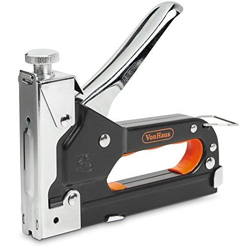 VonHaus Tacker + Druckluftnagler mit Schnellfreigabegriff; Enthält 200 Heftklammern, 200 Kabelklammern & 200 Kopfnägel - Ideal zum Zimmerer, zum Tackern von Isolierung & Kabeln