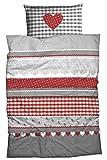 CASATEX Fein-Biber-Bettwäsche 'Herz-Karo' im Landhausstil 135x200 cm silber-rot
