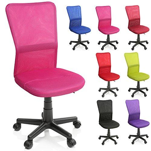 TRESKO Bürostuhl Schreibtischstuhl Drehstuhl, erhätlich in 7 Farbvarianten, mit Kunststoff-Leichtlaufrollen, stufenlos höhenverstellbar, gepolsterte Sitzfläche, Lift SGS-geprüft (Pink)