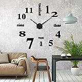 ikalula DIY Wanduhr, DIY 3D Wanduhren Modern Design Acryl Wanduhren Wandtattoos Dekoration Uhren für Büro Wohnzimmer Schlafzimmer Uhr Geschenk Home Dekoartikel Quarzuhr - Schwarz