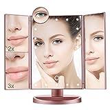 Aiskki Kosmetikspiegel Schminkspiegel mit 22 Leuchtmittel Make up Spiegel 1X/2X/3X/10X Vergrößerung