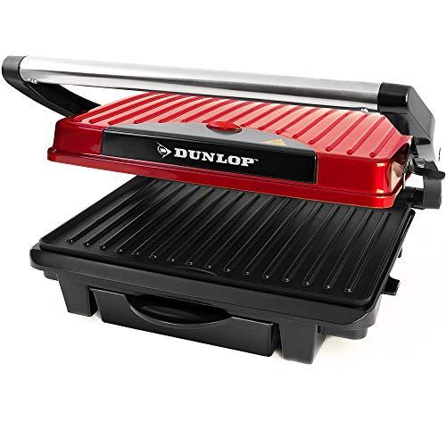 Dunlop 3in1 Kontaktgrill Tischgrill Elektrogrill Panini Grill Sandwich Maker • 1000W • fettarmes Grillen durch Fettablaufrinne und Auffangschale • Antihaftbeschichtung • Anti-Rutsch-Füße