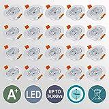 Hengda 20X 3W Warmweiß LED Decken Einbaustrahler für Badezimmer Wohnzimmer küche Spot Leuchte Lampe Set 255Lumen 85-265V IP44