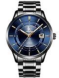 Alienwork Herren Damen mechanische Automatik-Uhr schwarz mit Edelstahl Metallarmband Kalender Datum blau