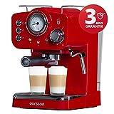 Oursson Kaffeemaschine, 3 Jahre Garantie, 15 Bar Espressomaschine, Espresso-Siebträgermaschine, Milchaufschäumer für Cappuccino und Latte, 1.5L Tank, Rot EM1500/RD