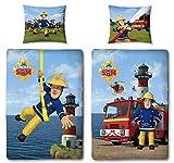 Character World Wende Bettwäsche Feuerwehrmann Sam, 100 x 135 cm 60 x 40 cm, 100% Baumwolle, Linon 2 Motive auf Einer Bettwäsche Reißverschluss
