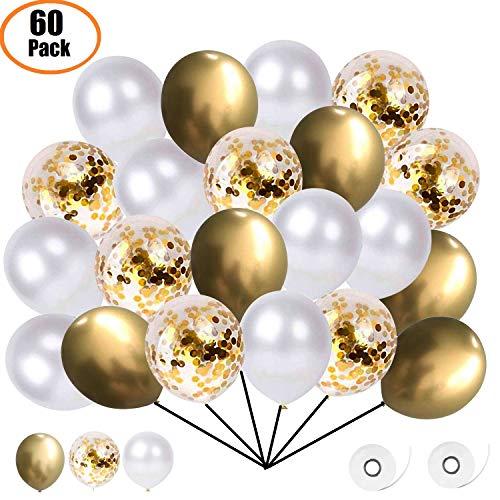 Ourworld 60 Stück Luftballons, Konfetti Ballons Matellic Latex Ballons Helium Ballons für Hochzeit Mädchen Kinder Geburtstag Party Dekoration (Golden)