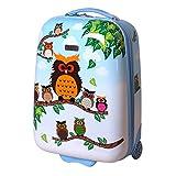 Kinder Koffer Reisekoffer Trolley Hartschalen Handgepäck Mädchen LED Skater Rollen Eule