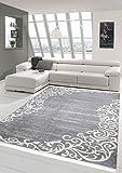 Merinos Teppich Floral Designerteppich Wohnzimmerteppich waschbar in Grau Creme Größe 80x150 cm