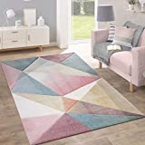 Paco Home Teppich Kurzflor Modern Trendig Pastell Geometrisches Design Inspiration Multi, Grösse:160x220 cm