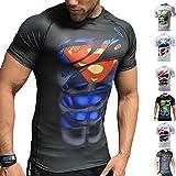 Khroom Hochwertiges Herren Funktionsshirt | Perfekt für Fitness & Gym - Kompressionsshirt im stylischen Helden Design (Superman schwarz, L)
