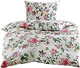 Mako Satin Blumen Bettwäsche mit Vögeln und Schmetterlingen weiß 135x200 + 80x80 100% Baumwolle