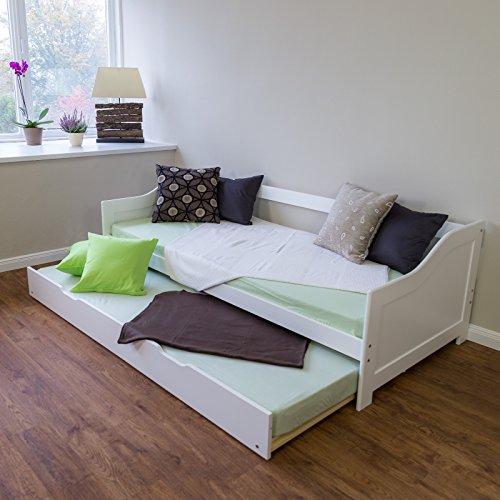 Homestyle4u 1420 Holzbett Kiefer massiv, Einzelbett aus Bettgestell mit Lattenrost Bettkasten ausziehbar, 90x200 cm, Weiß