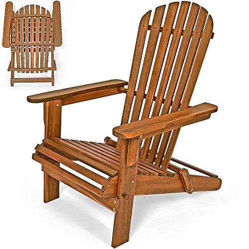 Deuba Sonnenstuhl Adirondack aus Akazienholz  klappbar  abgerundete Armlehnen  Deckchair Liegestuhl Holzstuhl