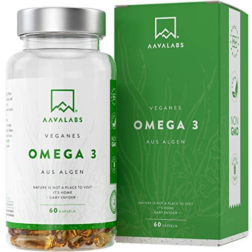 Omega 3 Vegan [1100 mg ] - Omega-3-Fettsäuren aus Algenöl - 600mg EPA & 300mg DHA pro Tagesdosis - 100% pflanzlich - Unterstützt normale Gehirnleistung & Sehkraft - 60 Kapseln