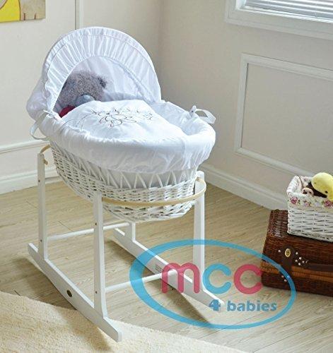 Babykorb, weide, in weiss, Komplettset mit Matratze, Bezug und Schaukelgestell