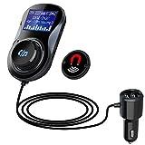 Bluetooth FM Transmitter Auto Wireless Radio Adapter, 1.44 Inch LED Anzeige, Lesen TF-Karte/U-Disk, CVC Geräuschunterdrückung HiFi Freisprecheinrichtung Car Kit mit 2 USB Ladegerät für IOS Android