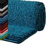 casa pura Badematte Hochflor Sky Soft | Weicher, Flauschiger Badezimmerteppich in Shaggy-Optik | Badvorleger Rutschfest waschbar | Öko-Tex 100 Zertifiziert | 16 Farben in 6 Größen (60x50 cm, türkis)