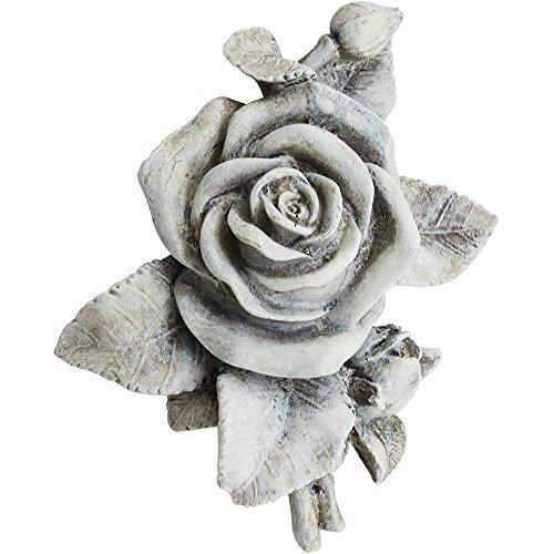 COM-FOUR Deko Rose in Steinoptik, als Grabschmuck, ca. 13 x 12 x 4,5 cm (01 Stück - Rose)