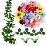 ETEREAUTY Kunstblumen, 47 Stück kunstblumen köpfe mit Rebe und der blätter, 5 Sorten Blumen Rose, Dahlie, Hortensie, Chrysantheme, Sonnenblume - Perfekte für DIY Geschenk nach Hause Deko