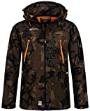 Geographical Norway Herren Softshell Outdoor Jacke Tambour/Taco/Techno abnehmbare Kapuze kaki/orange L