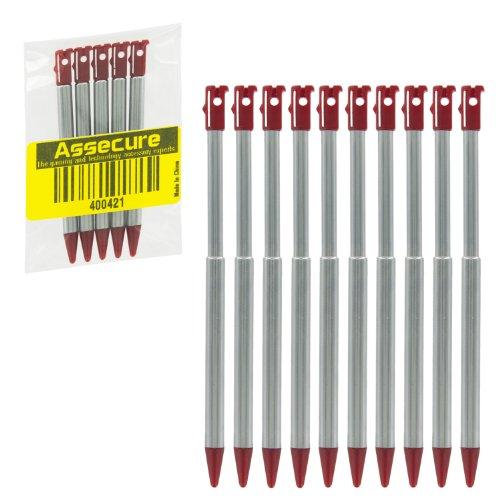 10x Assecure Rot Metall Touch Pen für Nintendo 3DS Stylus Slot mit Teleskopauszug