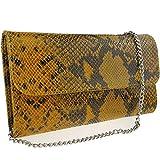Freyday Echtleder Damen Clutch Tasche Abendtasche Muster Metallic 25x15cm (Senfgelb Snake 2)