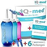 Nasendusche von iQ-med 500ml + Rezeptbuch + 2 Aufsätze | Nasenspülung: Natürliche Hilfe bei Erkältung und Allergien | auch für Kinder geeignet | Nasenspülkanne, Nasen-Dusche, Nasen-kanne, Nasenspülset, Nasen-spülung, Nethi, Neti, Nase Spül-kanne (blau)