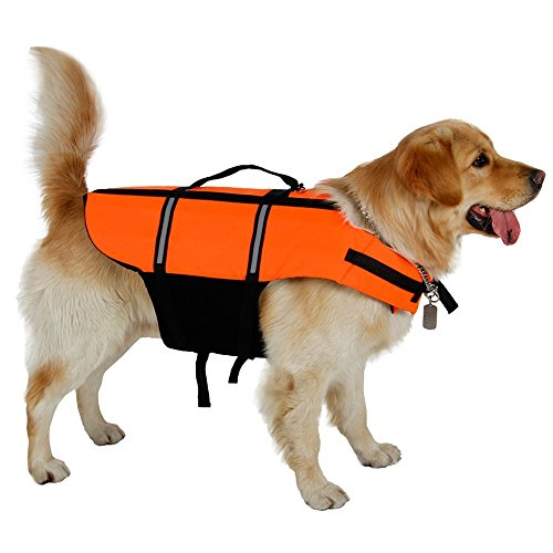 OHANA Reflektierend Rettungswesten für Hunde, Hundeschwimmweste Sommer Badebekleidung für Hunde/Haustiere, Orange